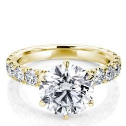 Golden Round Engagement Ring