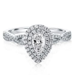 Twist Shank Halo Pear Engagement Ring(1.55 CT. TW.)
