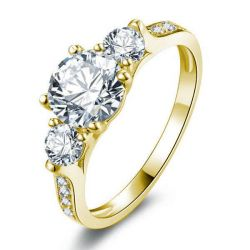 Classic Golden Three Stone Engagement Ring