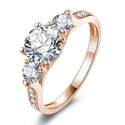 Classic Rose Gold Three Stone Engagement Ring