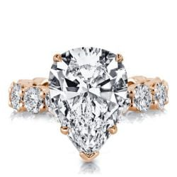 Rose Gold Pear Eternity Engagement Ring