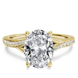 Golden Bypass Oval Created White Sapphire Engagement Ring