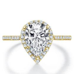 Italo Golden Halo Pear Created White Sapphire Engagement Ring