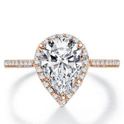 Italo Rose Gold Halo Pear Created White Sapphire Engagement Ring