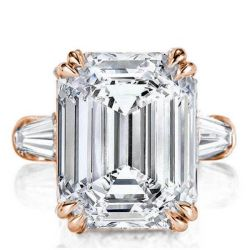 Rose Gold Three Stone Emerald Engagement Ring