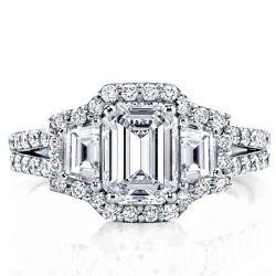 3 Stone Emerald Cut Engagement Rings