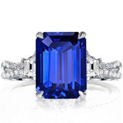 Three Stone Split Shank Emerald Cut Engagement Ring