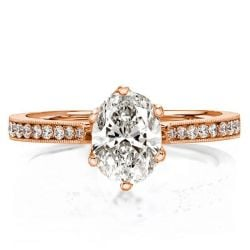 Rose Gold Milgrain Oval Cut Engagement Ring