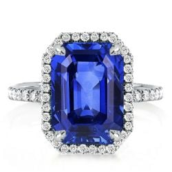 Halo Emerald Cut Blue Sapphire Engagement Ring