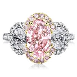 Two Tone Three Stone Halo Oval Pink Engagement Ring