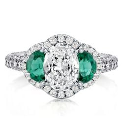 Three Stone Halo Engagement Rings