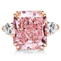 Double Prong Three Stone Pink Radiant Cut Engagement Ring