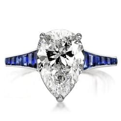 Classic Blue Pear Cut Engagement Ring