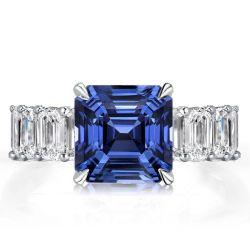 Asscher Cut Blue Engagement Ring