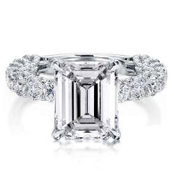 Emerald Cut Micropavé Engagement Ring