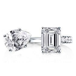 Pear & Emerald Cut Twin Ring