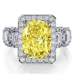 Halo Cushion Fancy Yellow Engagement Ring