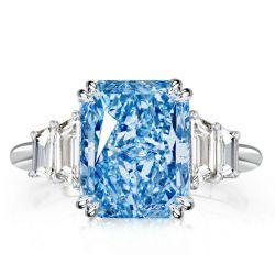 Double Prong Radiant Aquamarine Engagement Ring