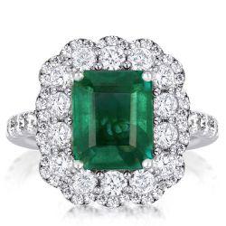 Vintage Halo Emerald Engagement Ring