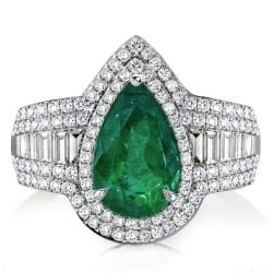 Halo Pear Cut Created Green Sapphire Engagement Ring