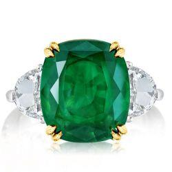 Three Stone Cushion Cut Created Emerald Engagement Ring