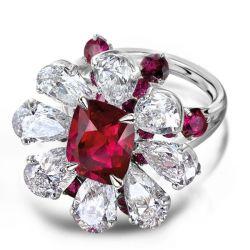 Garnet Red & White Sapphire Halo Flower Engagement Ring