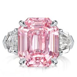 Three Stone Created Pink Emerald Cut Engagement Ring