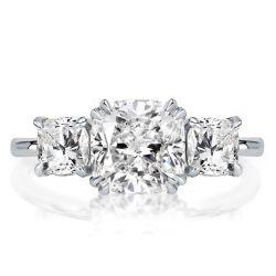 Double Prong Three Stone White Cushion Cut Engagement Ring