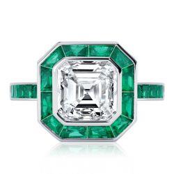 Halo Bezel Setting Asscher Cut Engagement Ring