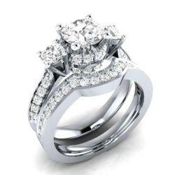 Italo Three Stone Created White Sapphire Bridal Set