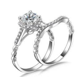 Italo Twist Shank Halo Created White Sapphire  Bridal Set