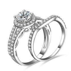 Italo Halo Spilt Shank Created White Sapphire Bridal Set