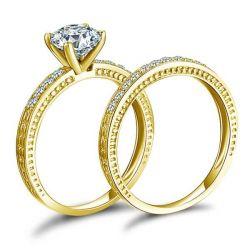 Classic Milgrain Yellow Gold Bridal Set