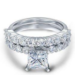 Italo Classic Princess Created White Sapphire Bridal Set