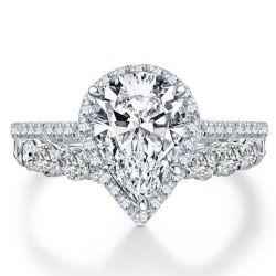 Italo Halo Pear Created White Sapphire Bridal Set