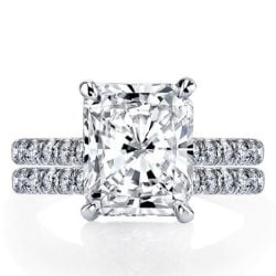 Italo Classic Radiant Created White Sapphire Bridal Set