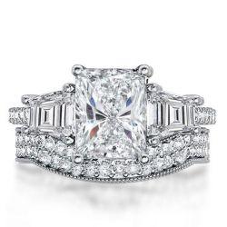 Three Stone Engagement Ring Set