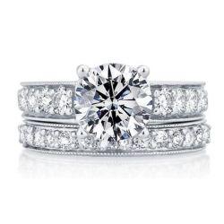 Italo Classic Pave Setting Created White Sapphire Bridal Set