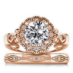 Floral Design Rose Gold Halo Bridal Set