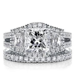 Three Stone Halo Split Shank Princess Bridal Set