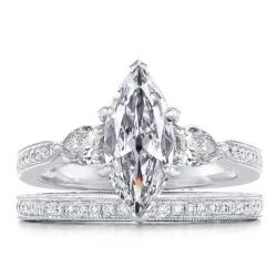 Milgrain White Sapphire Bridal Set