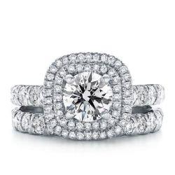 Italo Classic Double Halo Created White Sapphire Bridal Set