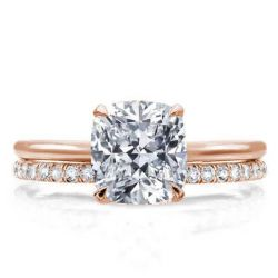 Italo Rose Gold Solitaire Created White Sapphire Bridal Set