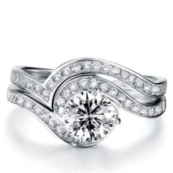 Italo Bypass Created White Sapphire Bridal Set