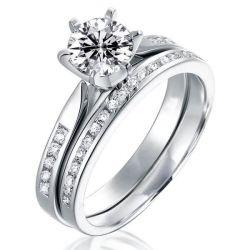 Italo Classic Created White Sapphire Bridal Set