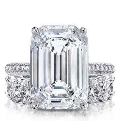 Italo Classic Emerald Created White Sapphire Bridal Set