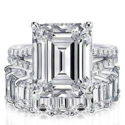 Italo Emerald Split Shank Created White Sapphire Bridal Set