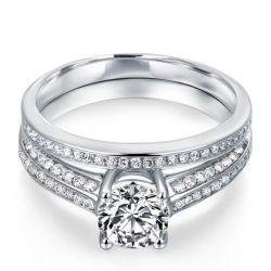Italo Two Row Created White Sapphire Bridal Set
