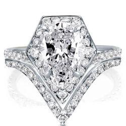 Halo Geometrical  Created White Sapphire Bridal Set