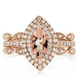 Double Halo Vintage Rose Gold Champagne Halo Oval 3PC Wedding Set(1.64 CT. TW.)